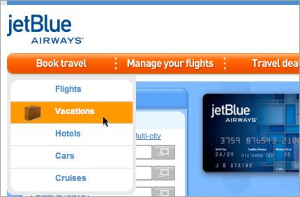 Jet Blue Menus