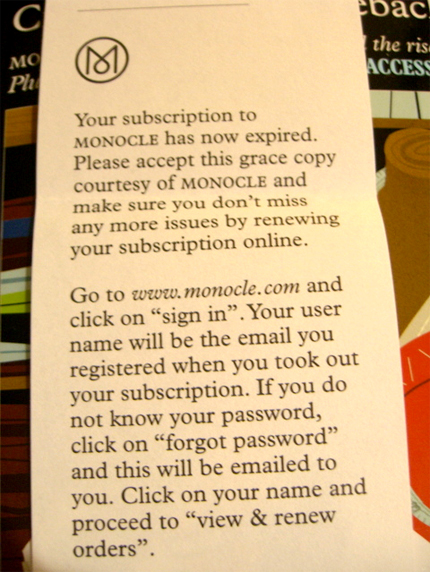 Monocle Personal Note 2 to Diego Rodriguez
