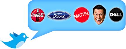 Twitter Tweeting Brands Coke, Ford, Mattel, Dell, stephen colbert
