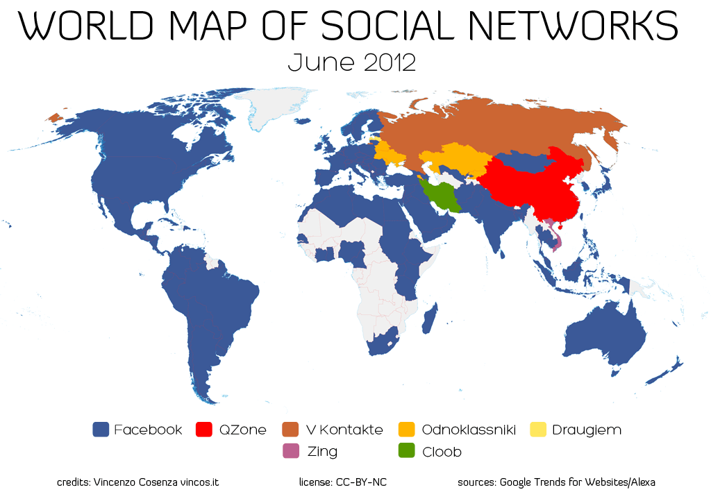 World map of social media growth trends aka facebooks global take world map of social networks 2012 gumiabroncs Images