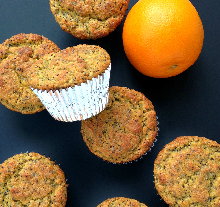 These (grain-free and paleo) orange poppy seed flax muffins are light and sweet from a combination of naturals sugars in orange juice and honey.