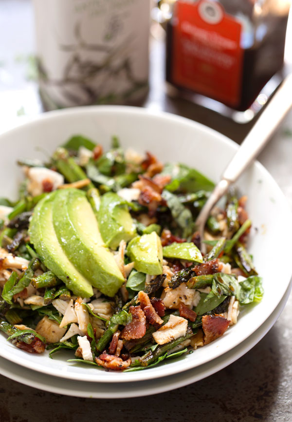 Chicken Bacon Avocado Salad with Roasted Asparagus - 12 Fresh Avocado Recipes | GrokGrub.com