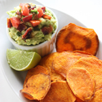 Baked Sweet Potato Crisps With Bacon Guacamole: 75 Healthy Kid-Friendly Snacks (allergy-friendly for every occasion) | GrokGrub.com