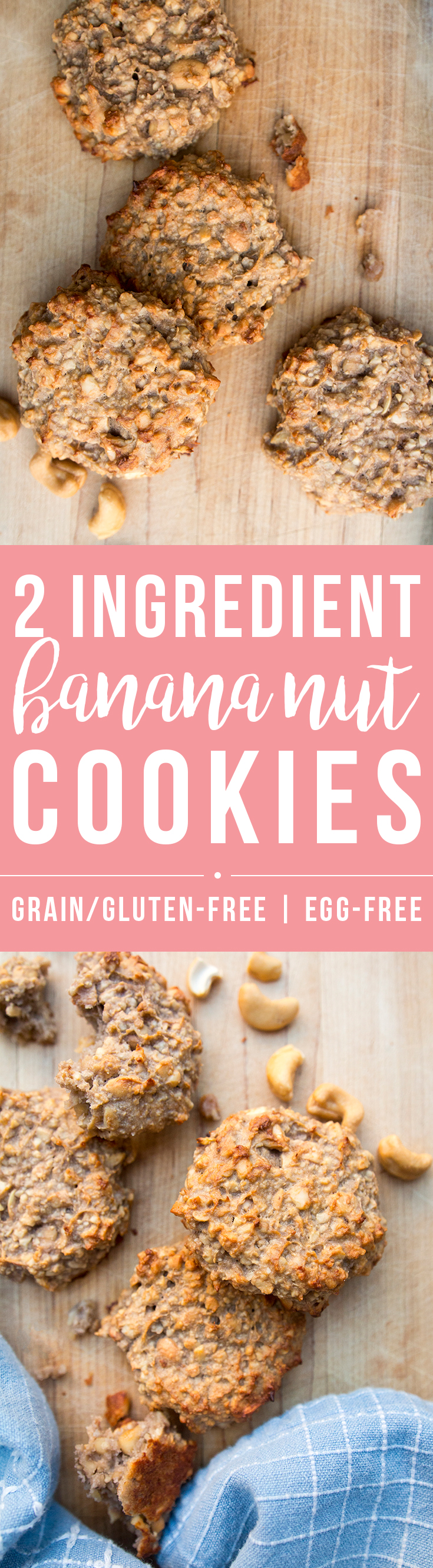 These amazingly simple 2 Ingredient Banana Nut Cookies are a quick, healthy, versatile snack as is or a great starting point to play with add-ins. | Fresh Planet Flavor