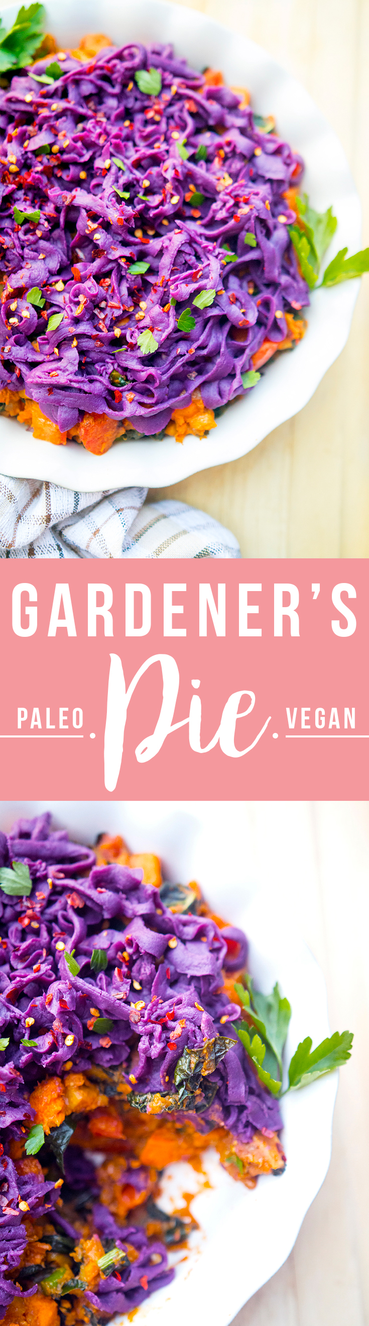 Gardener's Pie (curried vegetables under a purple sweet potato topping) with Imperfect Produce, a startup that helps prevent food waste. | Fresh Planet Flavor