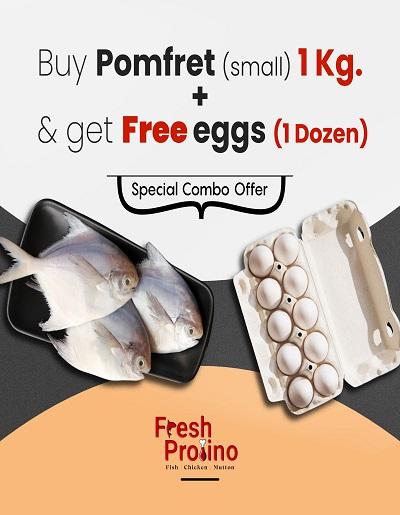 Combo Pack of Big Pomfret 1Kg | 1 Dozen eggs Free