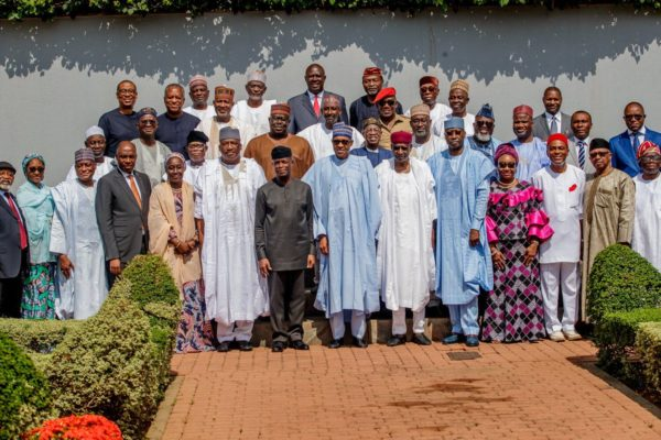Buhari and ministers after the valedictory session e1558553429340