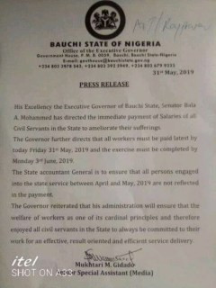 Bauchi: Governor Mohammed Orders Payment Of Workers Salary