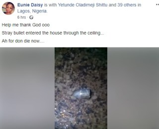 Lady Thanks God After Stray Bullet Lands Inside Her House – Lagos