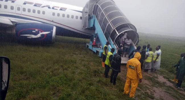 Passengers coming out from the Air Peace Airliner that overshot runway in PH