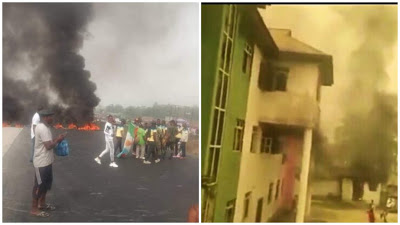 VIDEO: PDP Secretariat In Bayelsa Set On Fire By Protesters
