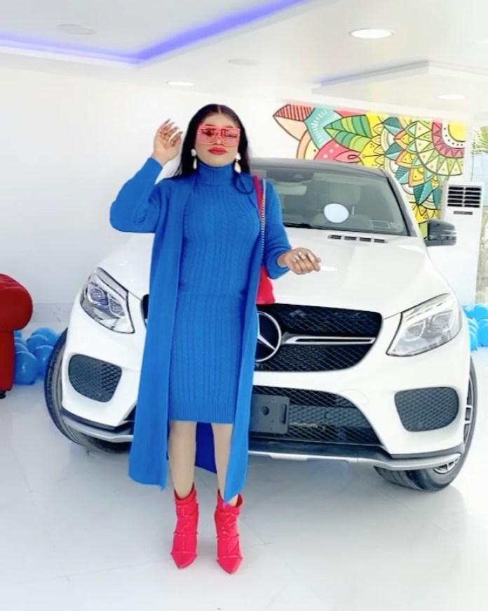 Bobrisky buys new Mercedes Benz SUV car