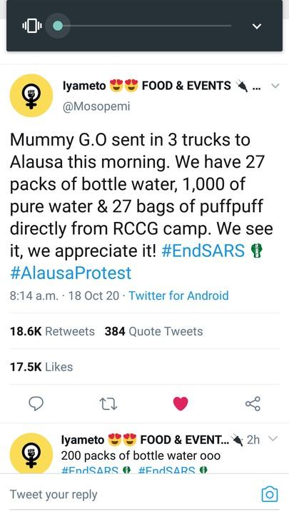 [VIDEO] Pastor Adeboye's Wife Supply 3 Trucks Of Water & Snacks To #Endsars Protesters