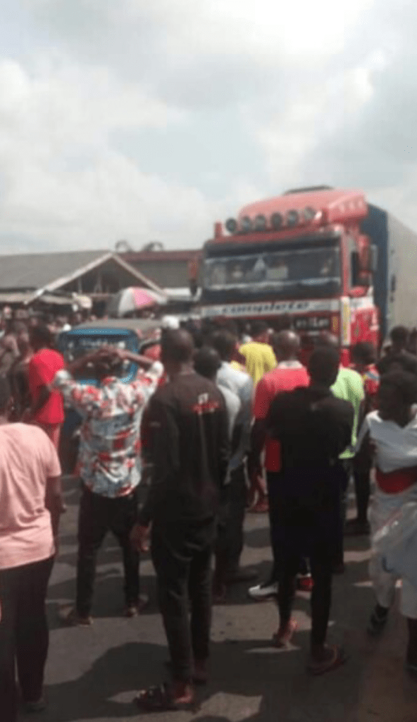 Truck Driver Escape Lynching After Crushing Man To Death In Rivers State (Photos)