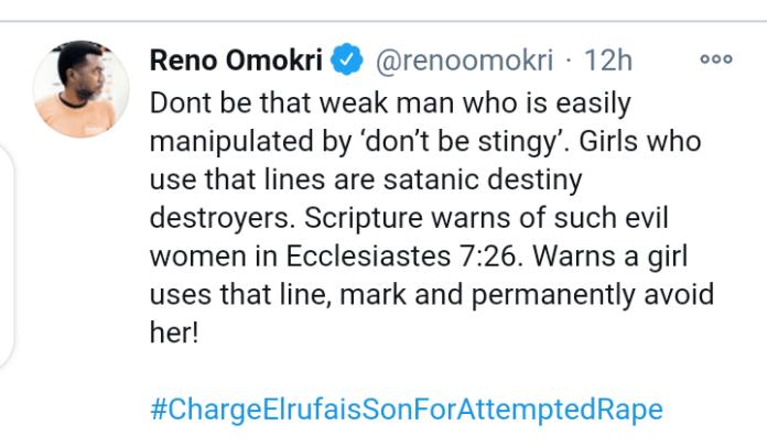"Girls Who Always Say ""Don't Be Stingy"" Are Satanic Destiny Destroyers"" - Reno Omokri"