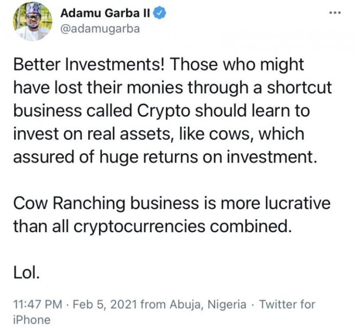 Ex-Presidential Candidate Advised Crypto Traders To Invest On Real Assets Like Cows Instead Of Bitcoin [MUST READ]