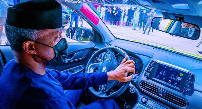 Watch As Electric Car Made In Nigeria Under Test-run By VP Yemi Osinbajo