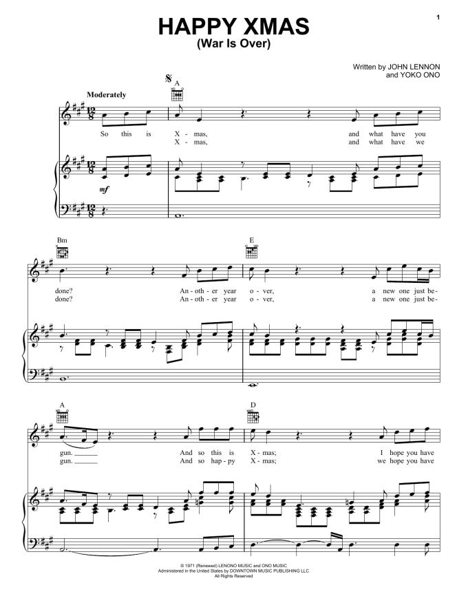 John Lennon Happy Christmas Piano Chords | Christmaswalls.co