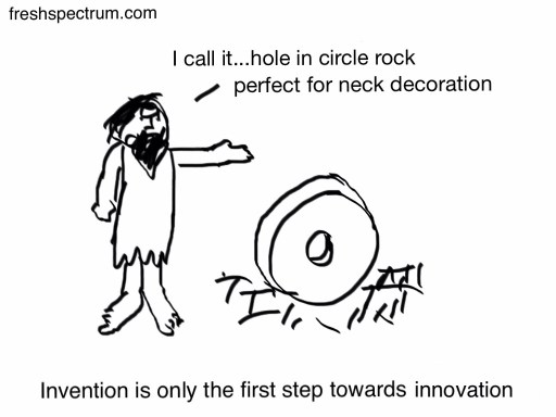 "Caveman pointing to a wheel saying, "" I call it' hole in circle rock, perfect for neck decoration."""