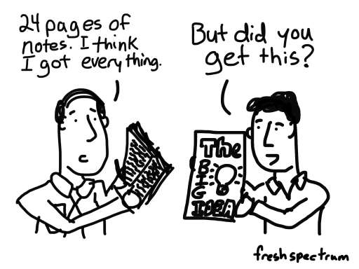 """Cartoon-24 pages of notes. I think I got everything...But did you get this? Holding a sketch note with """"The Big Idea"""""""