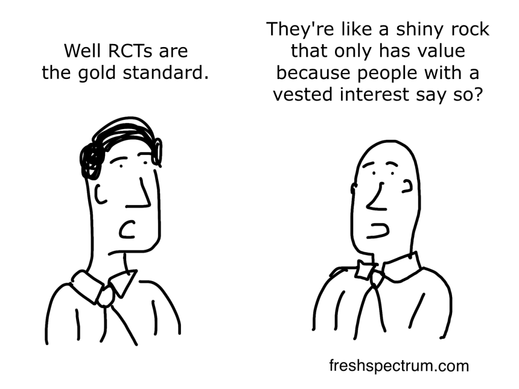 Cartoon-Well RCTs are the gold standard. They're like a shiny rock that only has value because people with a vested interest say so?