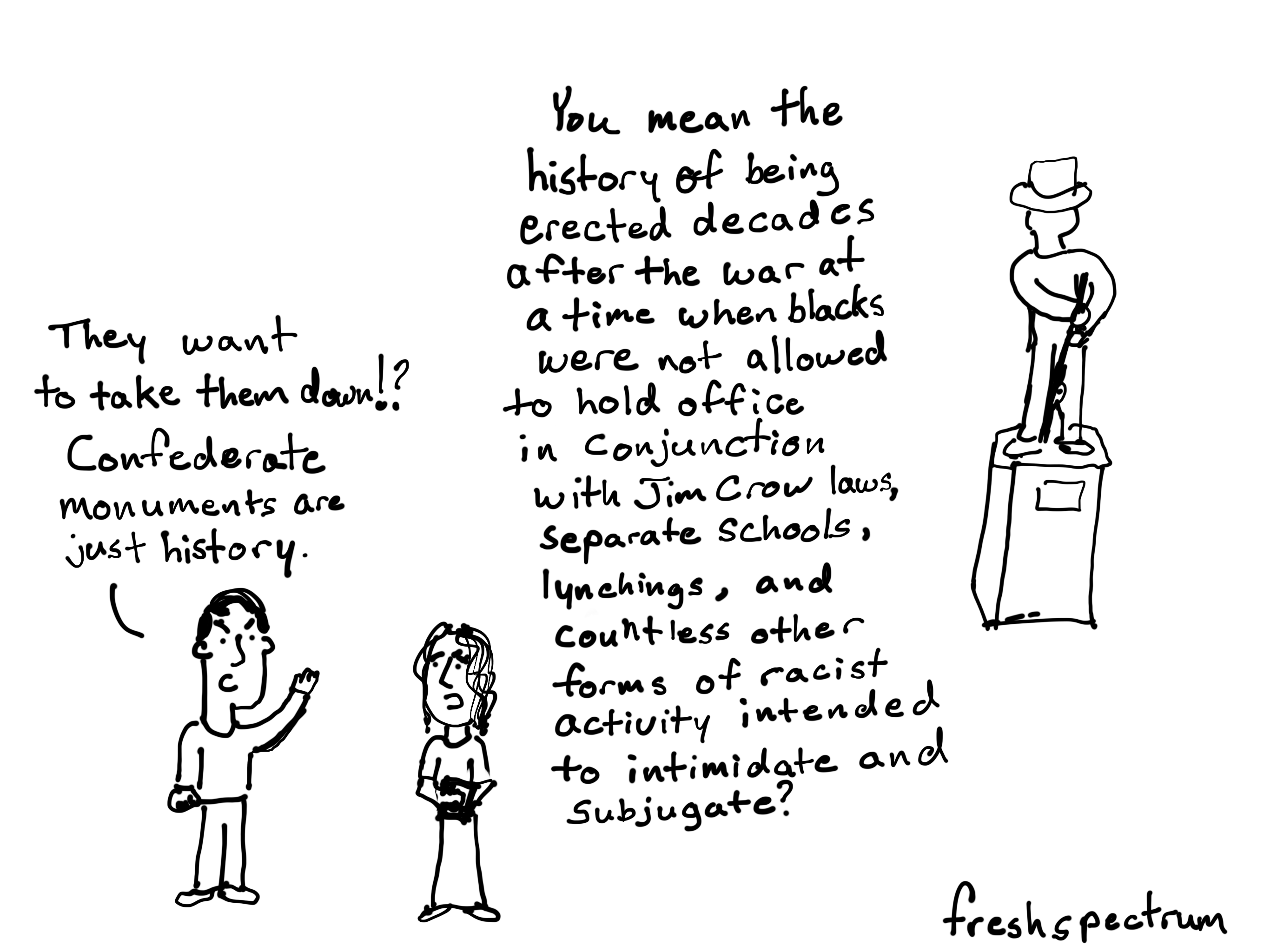 A cartoon about the history of confederate monuments.