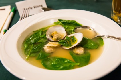 Bowl of miso with clams and spinach
