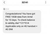Airtel Free 10Gb Data Proof