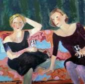 Claire Fresson : Deux femmes sur un canapé