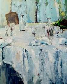 Table desservie à la double nappe (46x38)