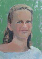 Portrait femme sur fond vert