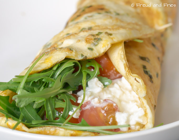Omelet wrap met cottage cheese en rucola | Freud and Fries