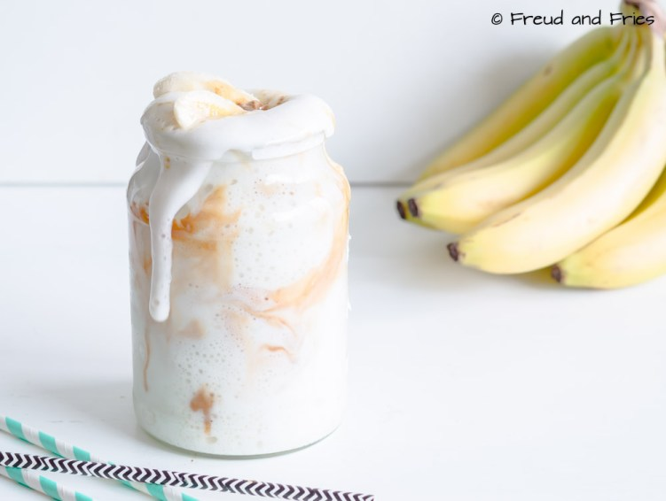 Peanut butter banana protein fluff with caramel | Freud and Fries