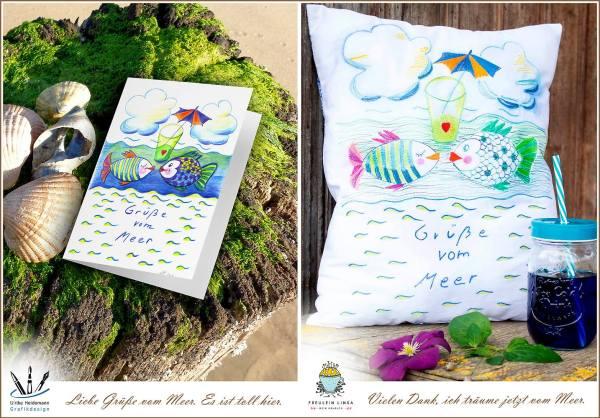Vergleich Illustration und Kissen mit Freihandstickenbild