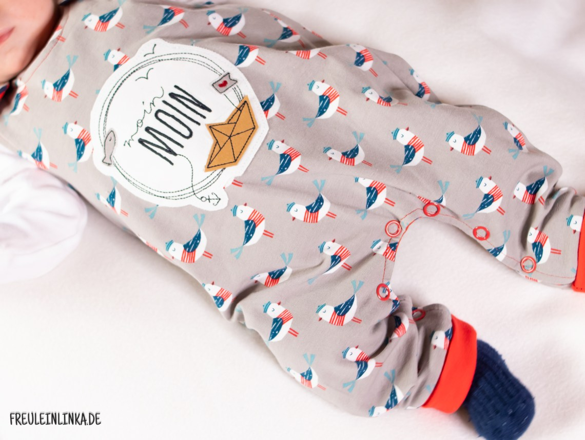 Strampler ohne Fuß für Babys mit Stickdatei und Knopfleiste von freuleinlinka.de