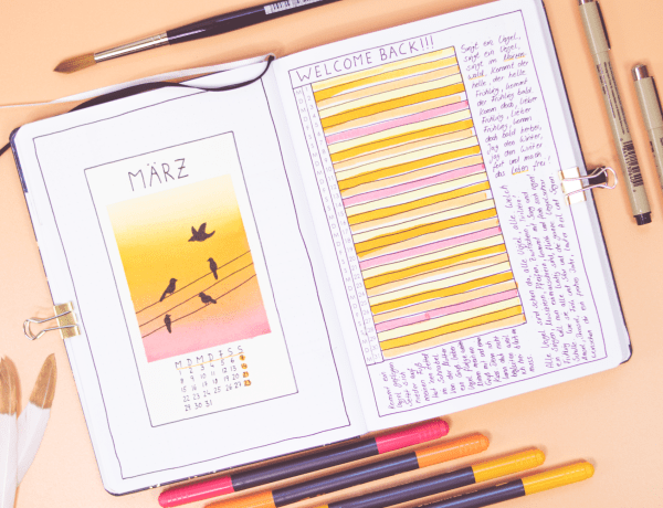 Bullet Journal März Thema Vögel