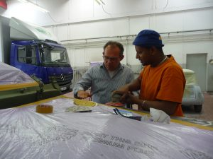 Ist mit Said sehr zufrieden: Jürgen Brandl, Geschäftsführer der Fa. Brandl Fahrzeugtechnik in Bamberg, © Enno Jochen Zerbes
