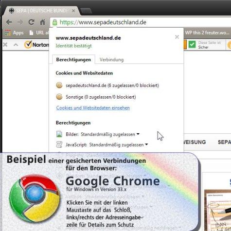 Screenshot: gesicherte Verbindung im Google CHROME Browser