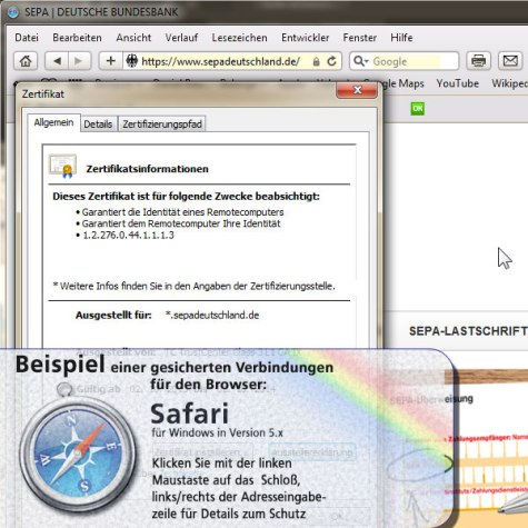 Screenshot: gesicherte Verbindung im SAFARI Browser
