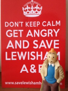 Tintin with Save Lewisham A&E campaign