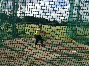 Novice hammer thrower at practice