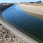 The Friant-Kern Canal's very low water flow east of Clovis in Fresno County.