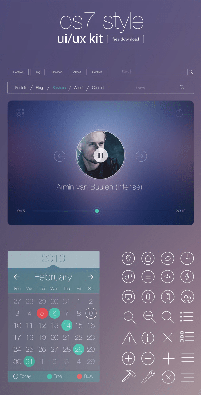 Free iOS7 Style UI/UX Kit for Designers