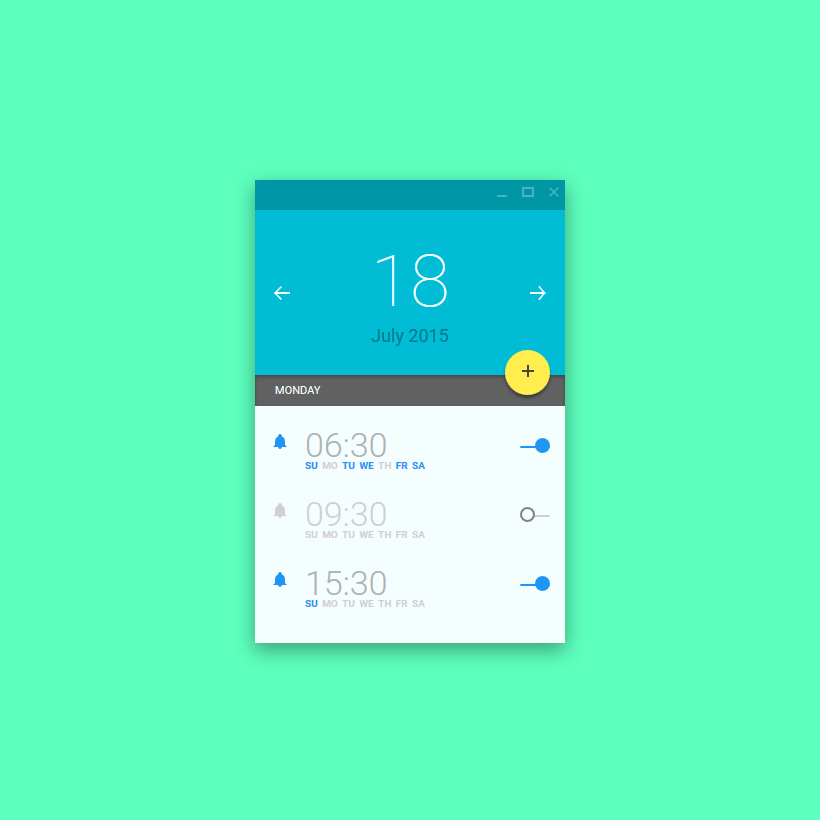 Alarm Material UI in Pure CSS, #Alarm, #Animation, #Buttons