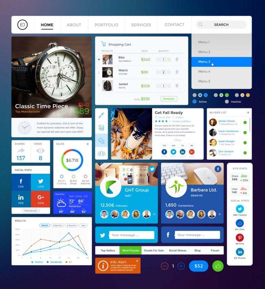 Free Shopping / Social UI Kit - Freebies - Fribly