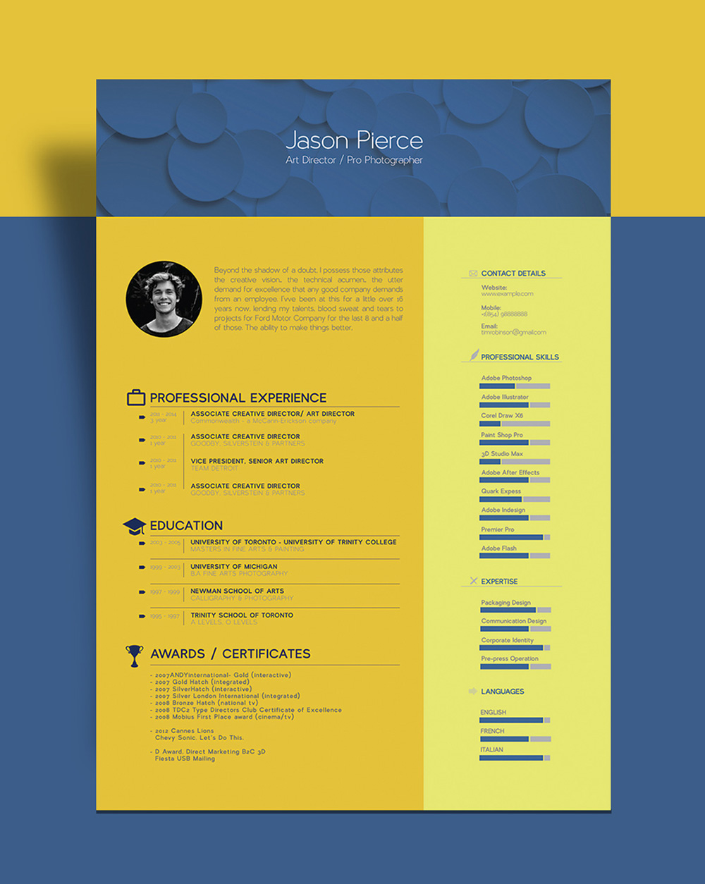 Free Beautiful Resume Cv Template For Graphic Designer Art