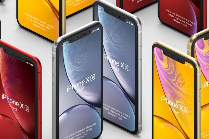 Free iPhone XR Isometric Mockup