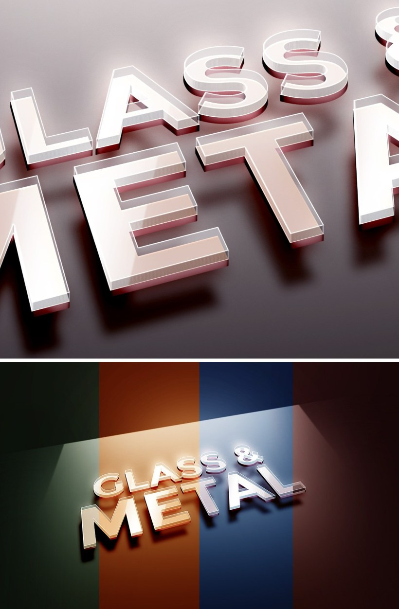 Free Glass Metal Text Effect
