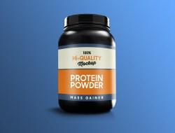 Free Protein Supplement Bottle Mockup