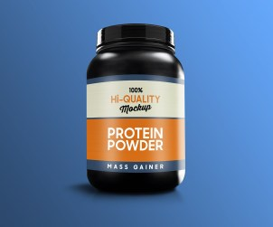 Free Protein Supplement Bottle Mockup